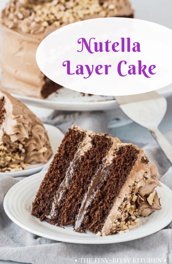 Pinterest image for Nutella cake with text overlay