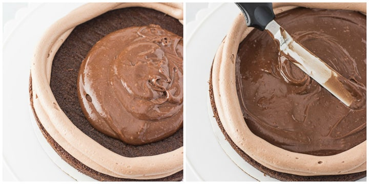 how to assemble chocolate Nutella cake step by step