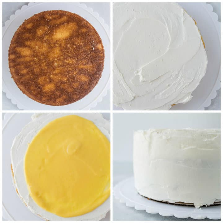 step by step showing how to assemble mango coconut cake