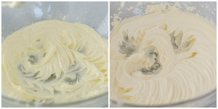 the first two steps in making caramel buttercream