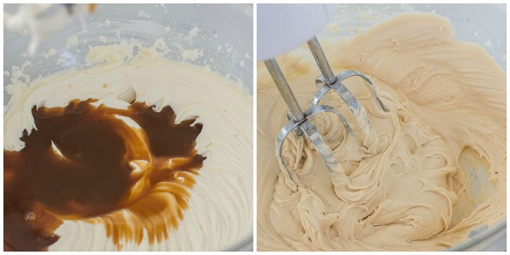 the third and fourth step in making caramel buttercream