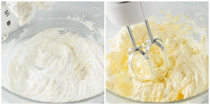 second and third step for making caramel cupcakes