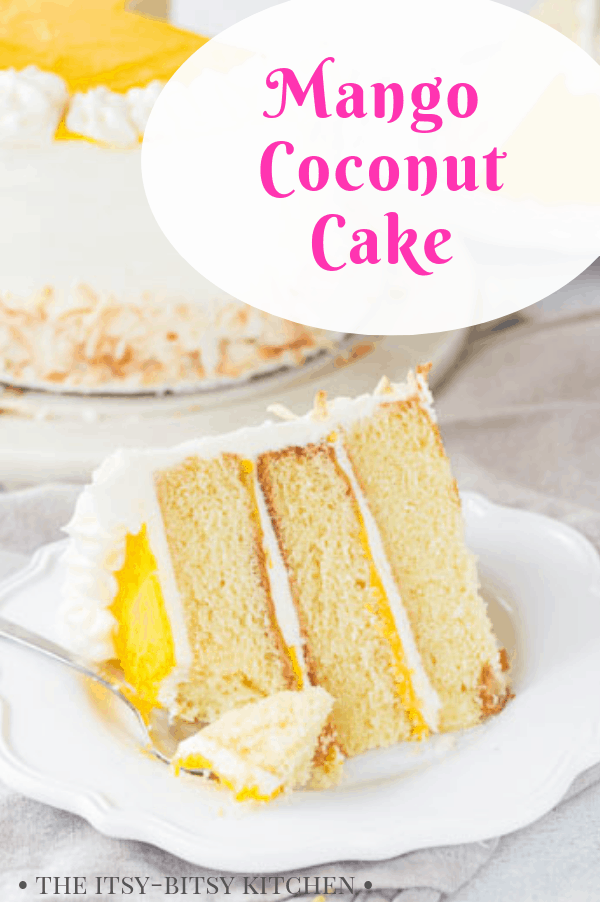 mango coconut cake Pinterest image with text