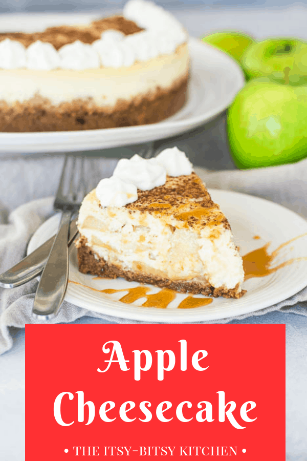 Pinterest image for apple cheesecake with text overlay