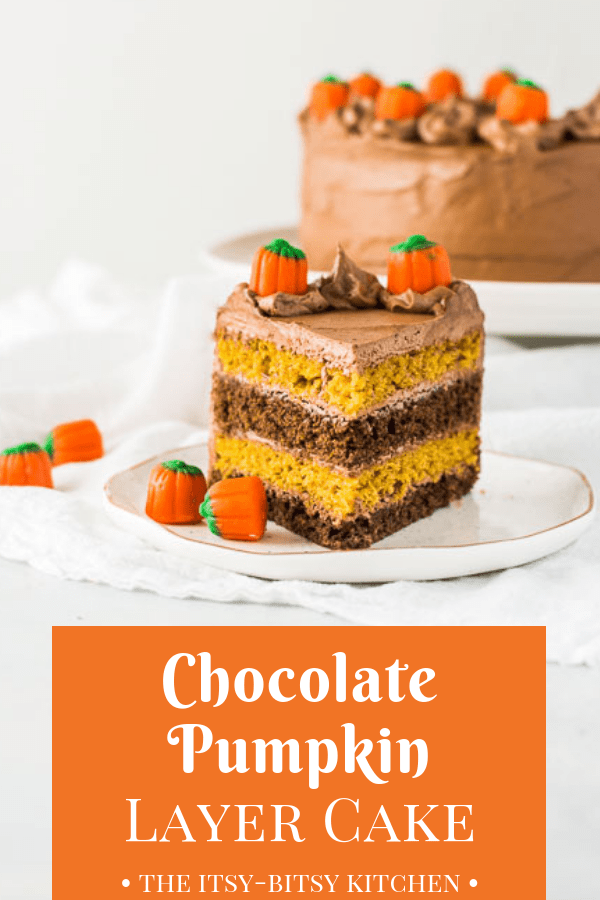Chocolate pumpkin cake features two layers of chocolate cake, two layers of pumpkin spice cake, and lots of chocolate buttercream frosting. If you love chocolate, pumpkin, and fall spices together, then you'll love this dessert! #chocolate #pumpkin #falldessert #cake