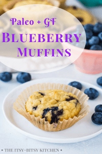 Pinterest image for coconut flour blueberry muffins with text overlay