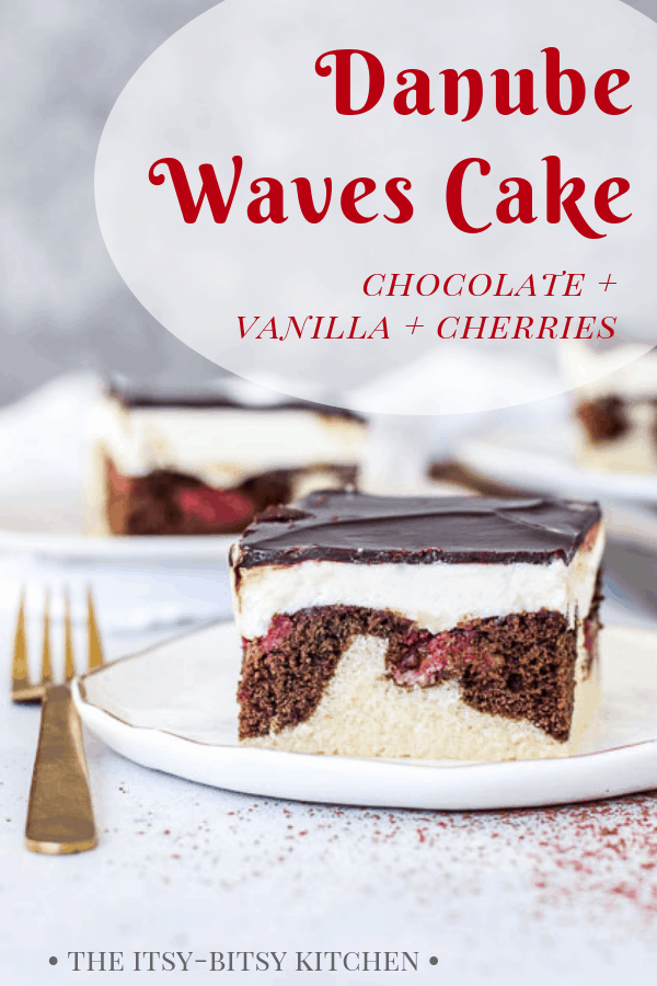 Danube Waves Cake (or Donauwellen Kuchen) is a German cake flavored with chocolate, vanilla, and cherries. It's a delicious way to celebrate Oktoberfest or just a regular Thursday! This is a recipe you'll make again and again--it's that good! #cake #OktoberfestBash #dessert