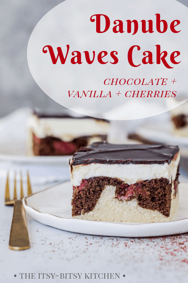 Pinterest image for Danube waves cake (donauwellen kuchen) with text overlay
