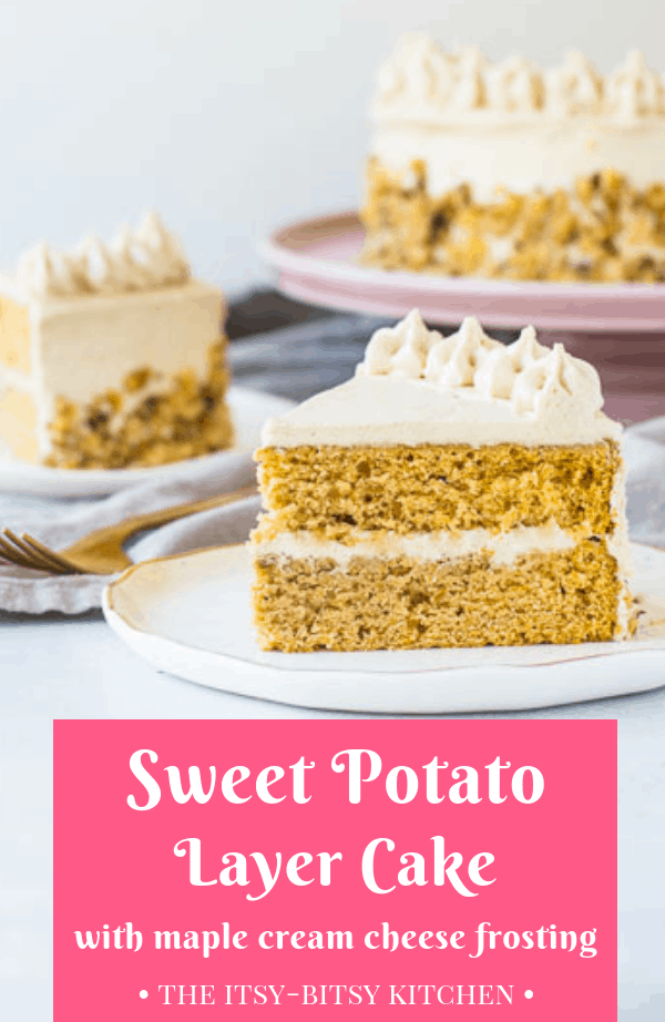 This sweet potato cake with cream cheese frosting is EASY to make and is a huge hit with everyone who's tried it. You'll make this recipe over and over this fall and winter! #sweetpotato #cake #layercake #falldessert