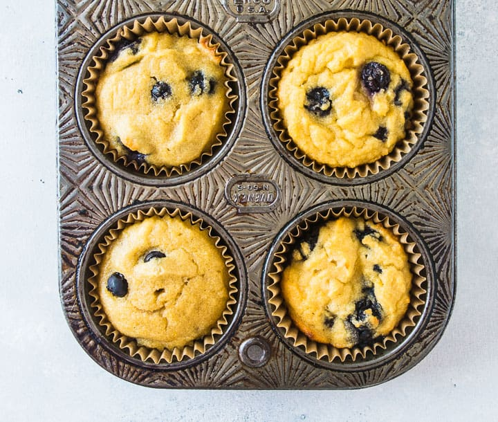 overhead shot of the finished coconut flour blueberry muffins in the muffin tin