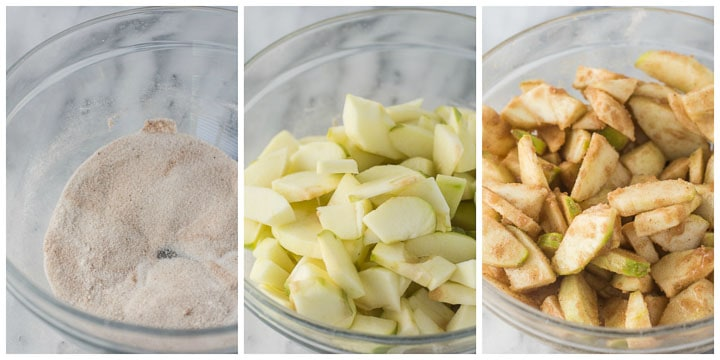 making cinnamon apple pie filling, steps 1 through 3