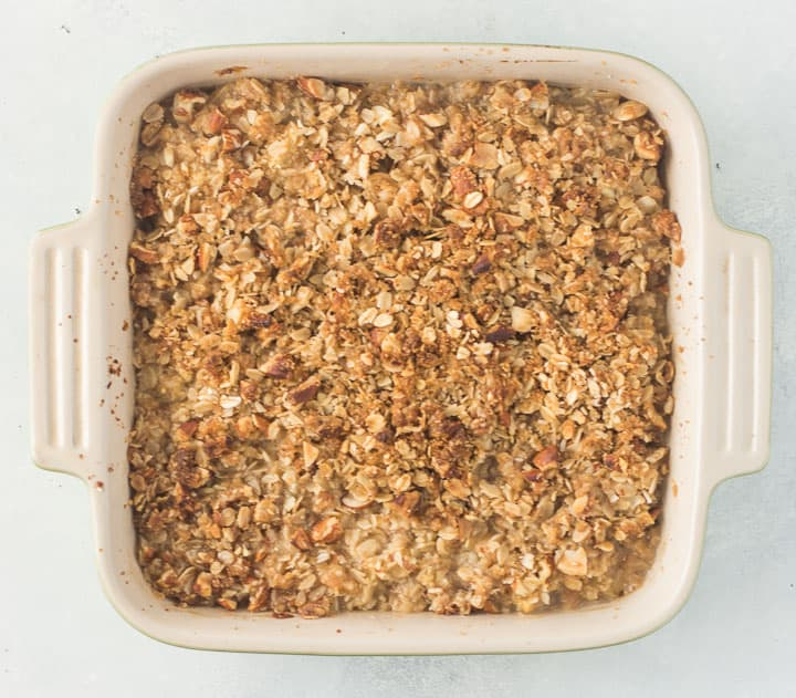 overhead shot of pear crisp after it comes out of the oven