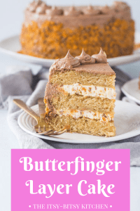Pinterest image for Butterfinger cake with text overlay