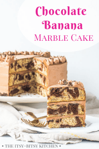 Pinterest image for chocolate banana cake with text overlay