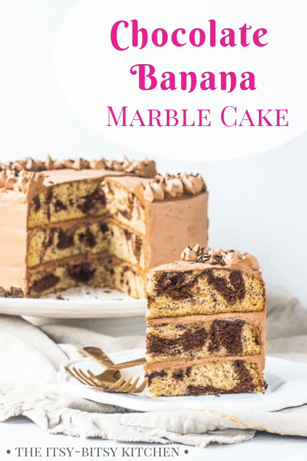 This chocolate banana cake is a fun twist on the classic marble cake, featuring soft banana cake layers swirled with melted chocolate and covered in the creamiest chocolate buttercream. It's always a hit! Recipe and step by step photos via itsybitsykitchen.com #chocolate #marblecake
