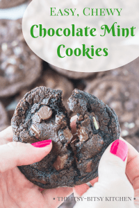 Pinterest image for easy chocolate mint cookies with text overlay