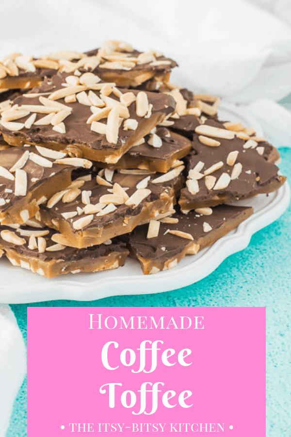 Coffee toffee is a delicious homemade candy flavored with espresso powder, chocolate, and almonds.  Use simple ingredients you probably already have on hand to make this delicious holiday gift to yourself or for your friends! Recipe and step by step photos via itsybitsykitchen.com #Christmas #candy #toffee