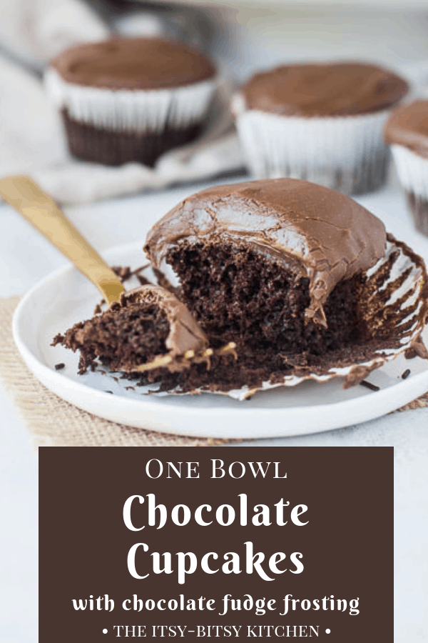 These easy chocolate cupcakes require just one bowl and a few basic ingredients to make. They're so simple anyone can make them successfully, and they're super rich and chocolatey. Plus they're topped with a delicious and easy chocolate fudge frosting! This recipe is a keeper! #chocolatecupcakes #easycupcakes #easydessert #chocolate