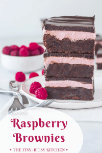 pinterest image for raspberry brownies with text overlay