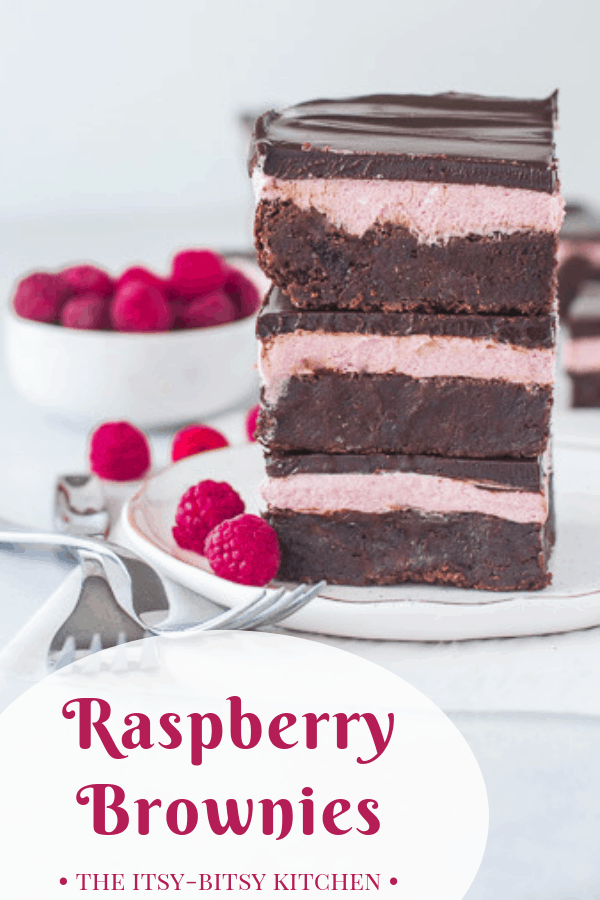 Homemade raspberry brownies made from scratch are rich and chocolatey and easy to make. They don't require any special tools or expertise and they're always a hit! Recipe and step by step photos via itsybitsykitchen.com! #raspberrybrownies #brownies #chocolate #fromscratch