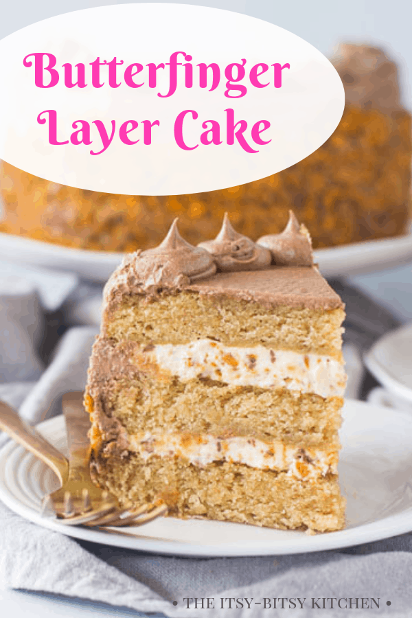 Butterfinger cake Pinterest image with text
