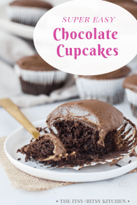 Pinterest image for easy chocolate cupcakes