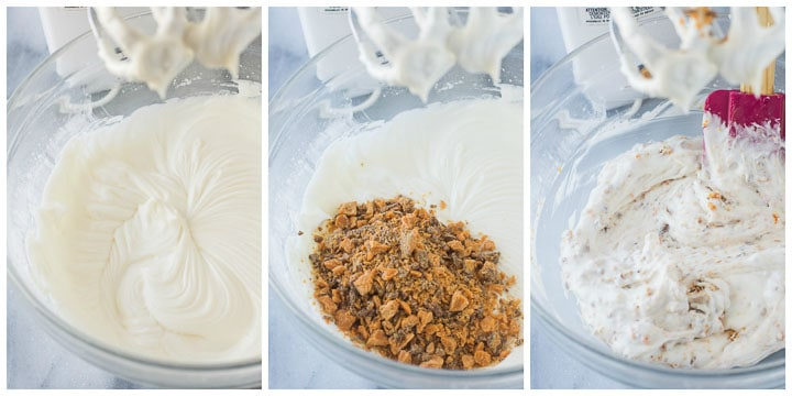 how to make filling for Butterfinger cake step by step