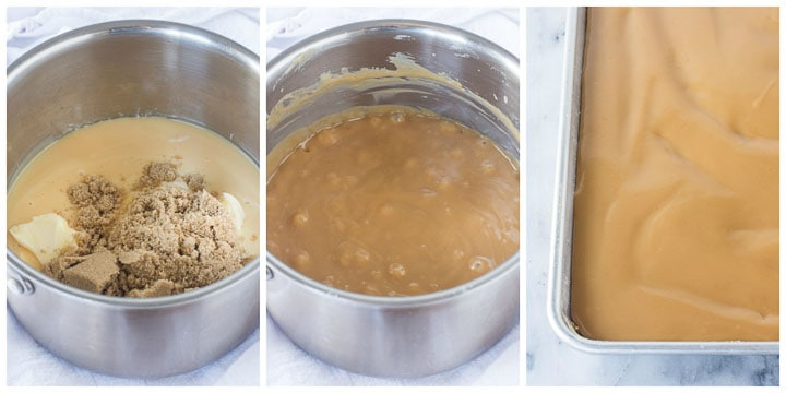 how to make caramel filling for chocolate caramel bars step by step