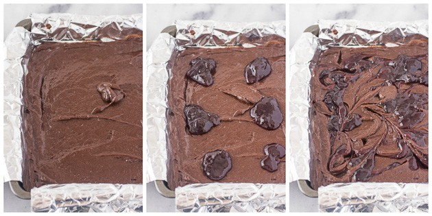 how to make raspberry brownies steps 8 through 10