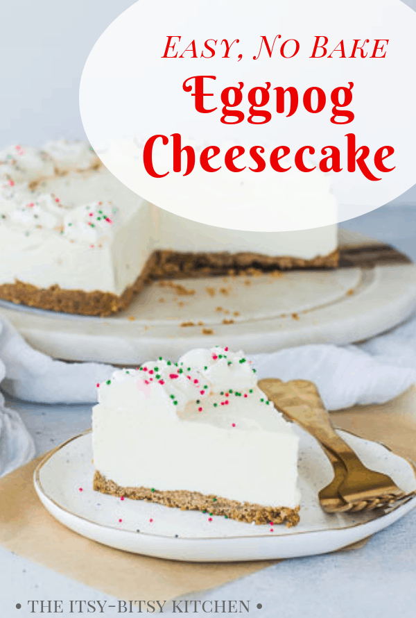 Pinterest image for eggnog cheesecake with text overlay