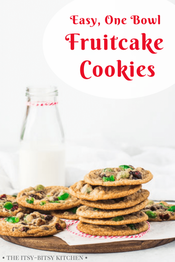 Pinterest image for fruitcake cookies with text overlay