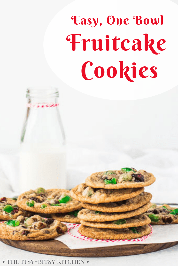 These fruitcake cookies are perfect for Christmas and they're so easy to make! Chewy, soft, and studded with fruits and nuts, you'll make this one bowl cookies recipe again and again! #Christmas #cookies