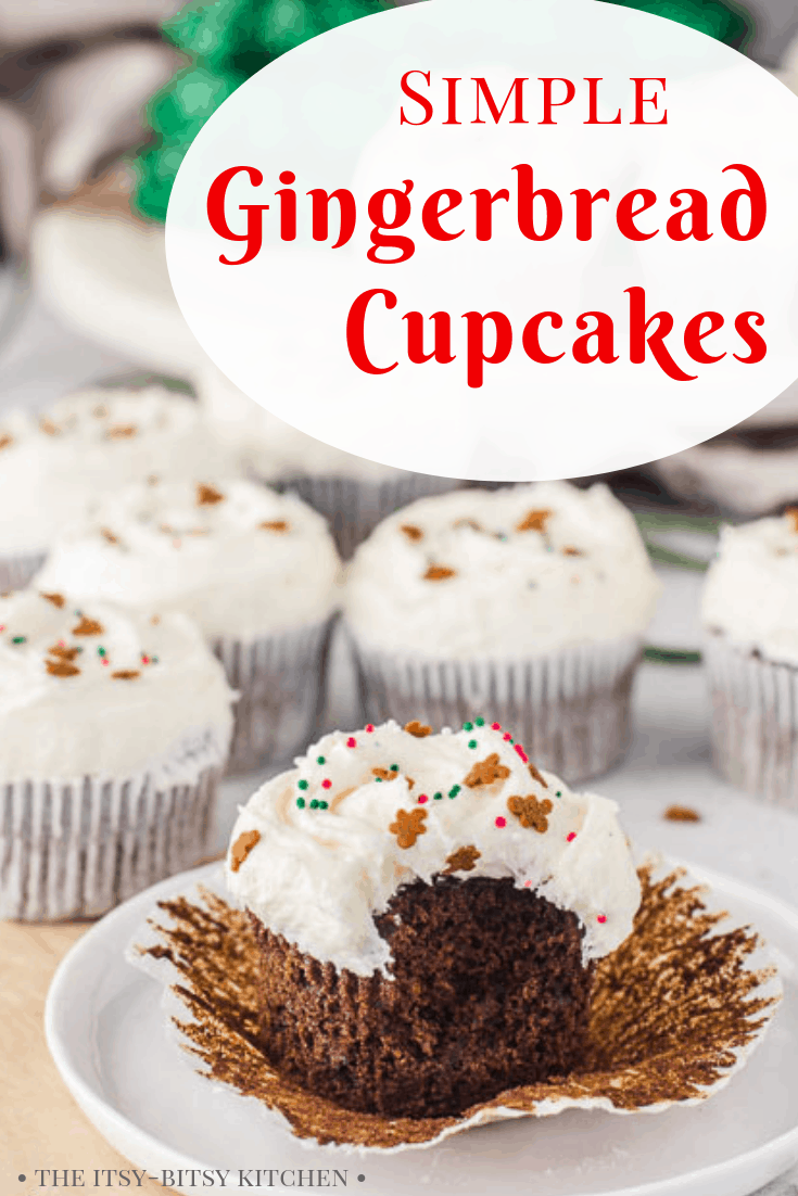 Pinterest image for easy gingerbread cupcakes with text overlay