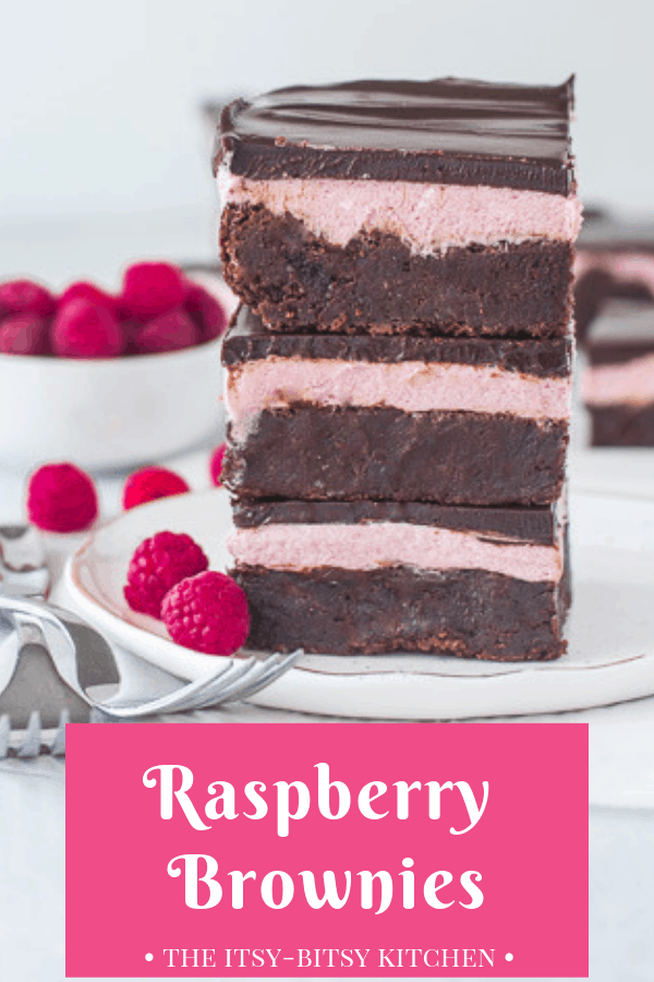 raspberry brownies Pinterest image with text overlay