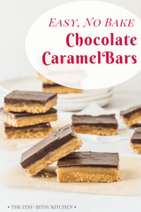 pinterest image for easy chocolate caramel bars with text overlay