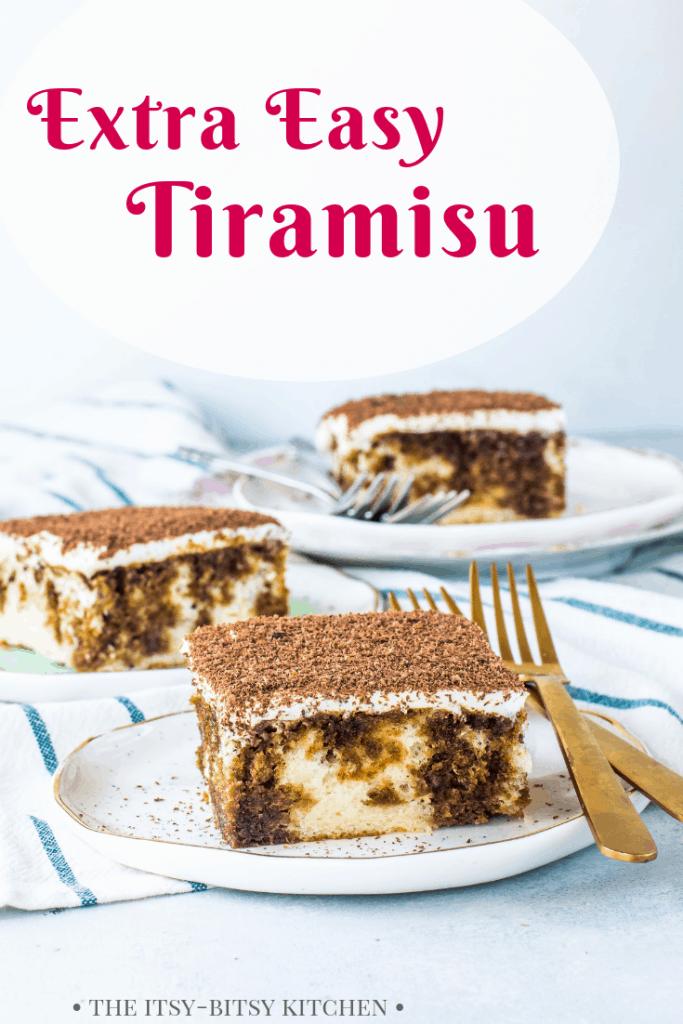 Pinterest image for easy tiramisu with text overlay