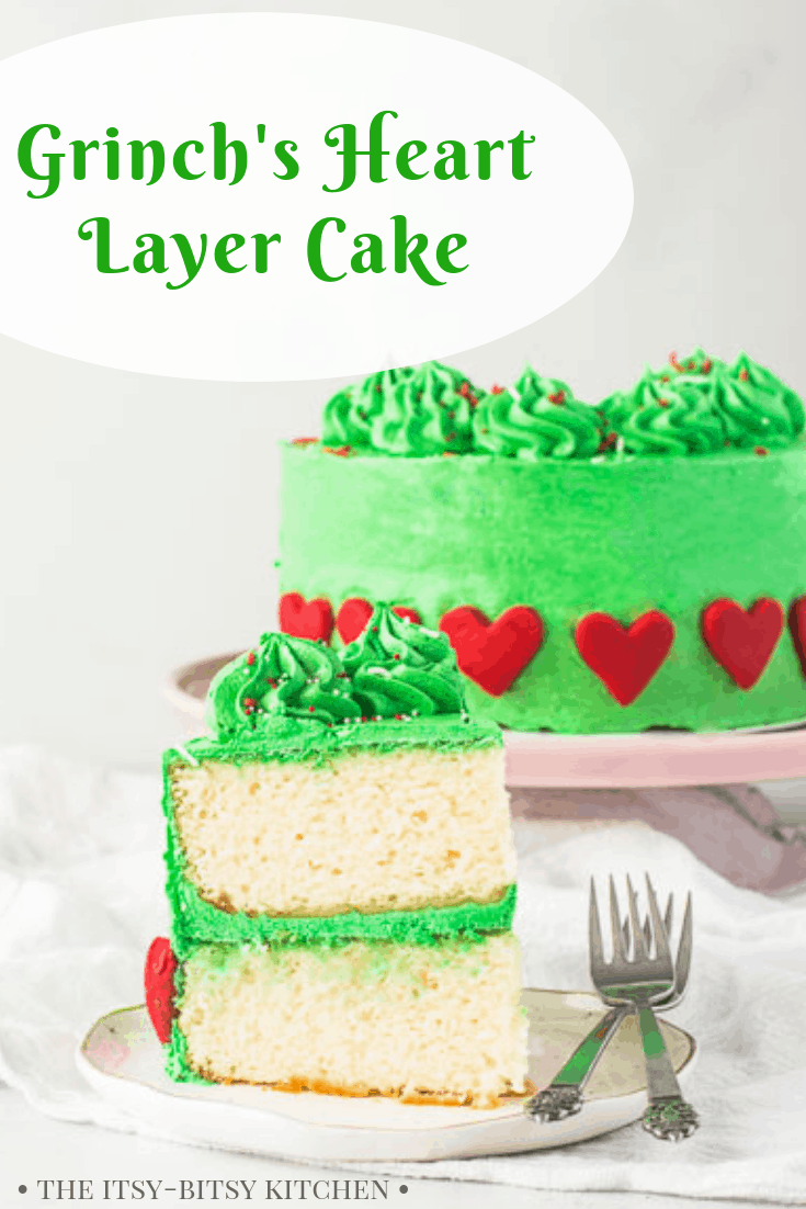 Looking for a fun and festive Christmas dessert? Try this Grinch's Heart Cake! A Grinch cake is a welcome addition to any Christmas party, and this cake starts with a doctored cake mix to make it easy. Recipe and step by step photos via the itsy-bitsy kitchen #Christmas #cake