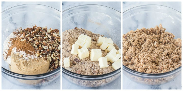 how to make the crumb topping for apple coffee cake step by step