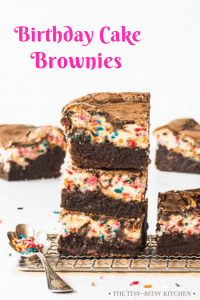 Pinterest image for birthday cake brownies