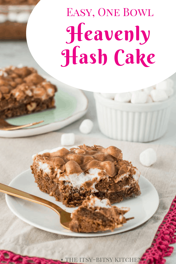 Heavenly hash cake is an easy from-scratch chocolate cake topped with marshmallows and chocolate glaze. It only takes about 15 minutes to make (not including baking time) and you don't need a mixer to make it! This cake is always a hit! #chocolate #cake