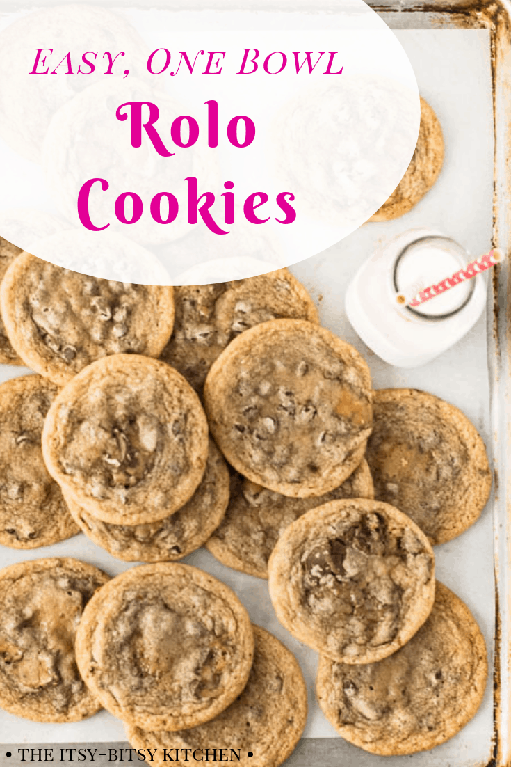 Chewy, buttery cookies with chocolate and caramel in every bite—and these Rolo cookies are made in one bowl without a stand mixer! This recipe couldn't be more easy and the cookie dough doesn't even require chilling! #chocolate #caramel #cookies