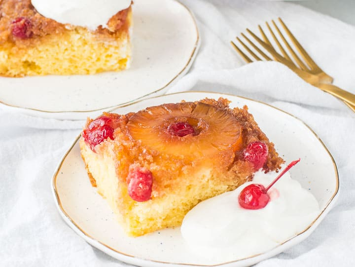 slice of easy pineapple upside-down cake on a plate
