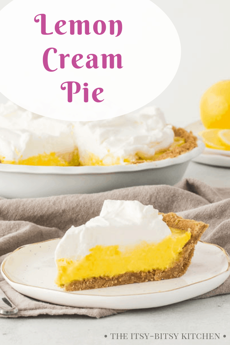 Pinterest image for lemon cream pie with text overlay
