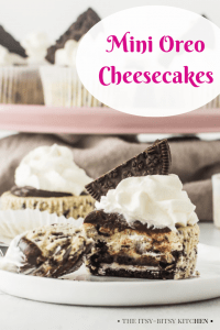 Pinterest image for mini Oreo cheesecakes with text overlay