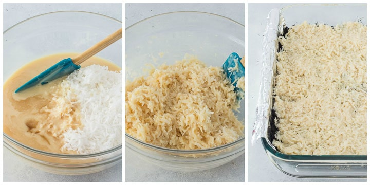 how to make filling for chocolate coconut bars step by step