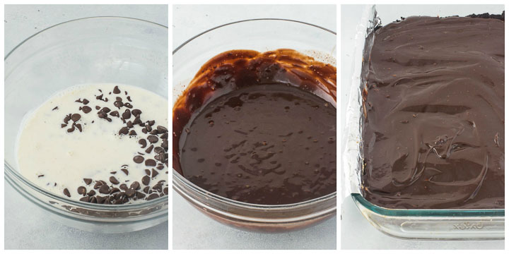 how to make topping for chocolate coconut bars step by step