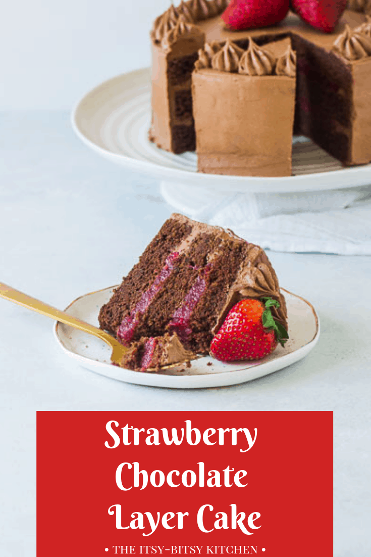 Pinterest image for chocolate strawberry cake with text overlay