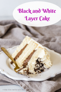 Pinterest image for black and white cake with text overlay