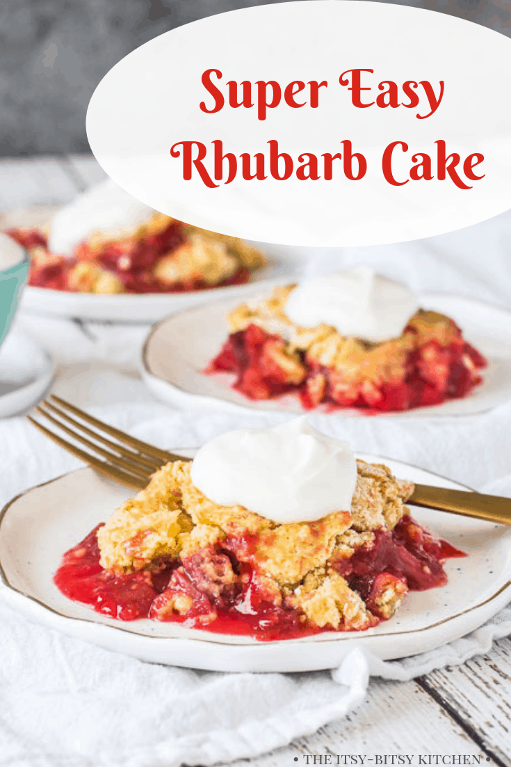 Pinterest image for rhubarb dump cake with text overlay