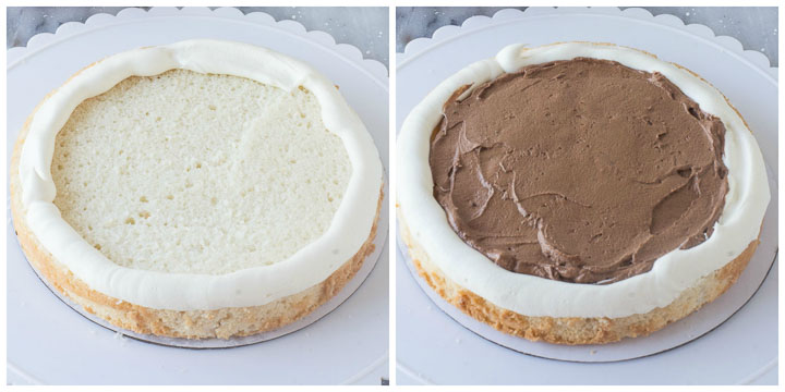 how to assemble black and white cake